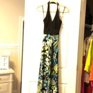 Long halter dress with floral skirt